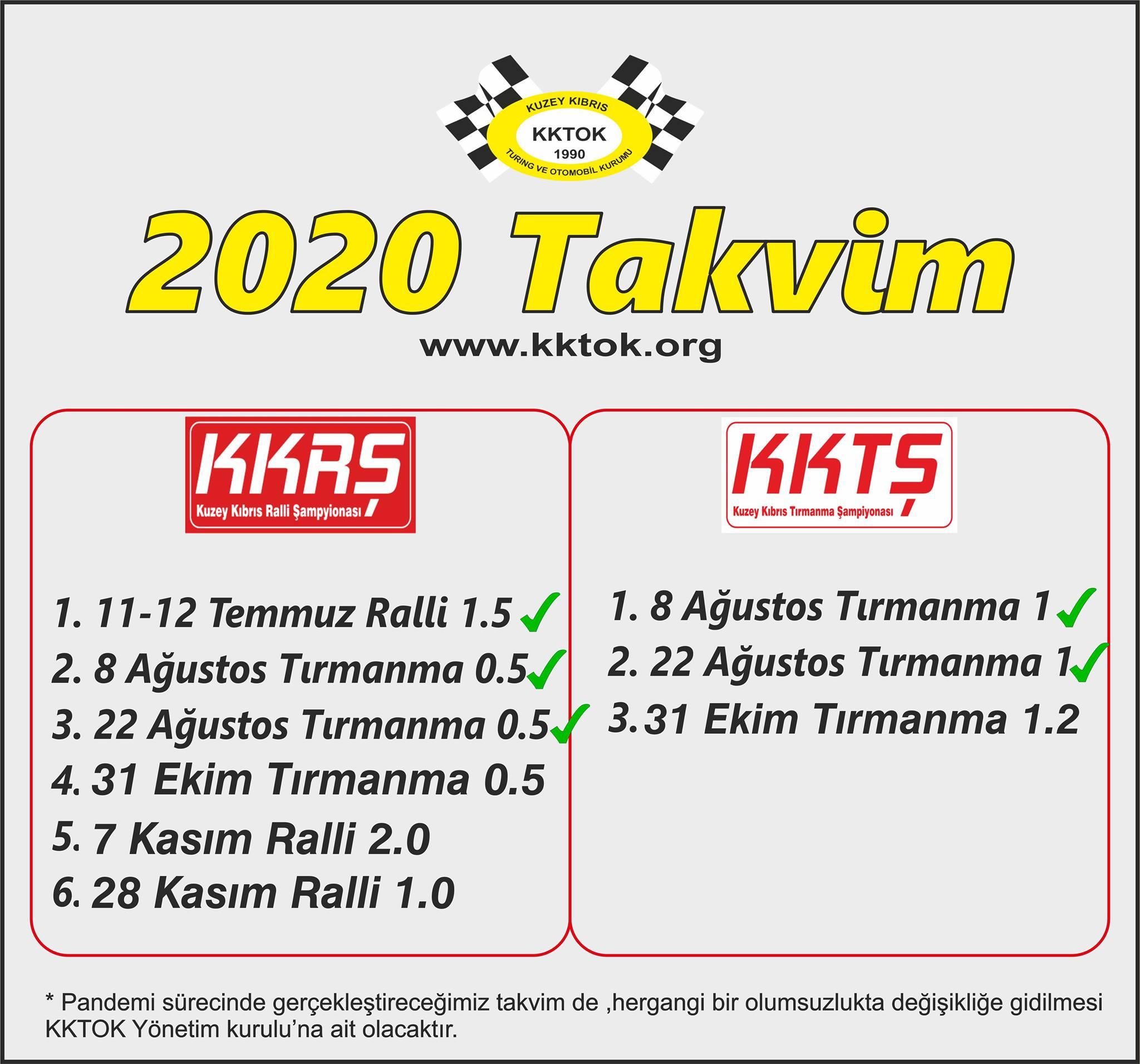 KKTOK yarış takvimini güncelledi